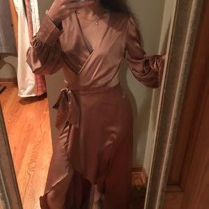 Satin Gold/beige Wrap Dress